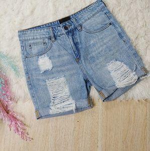 Courtshop Distressed Holey Highwaisted Mom Shorts